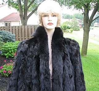 VINTAGE BLACK FULL LENGTH MINK FUR COAT, BLACK FOX LAPEL *DREAM COAT