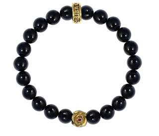 King QUEEN Baby polished ONYX 8mm Bead Bracelet 18k