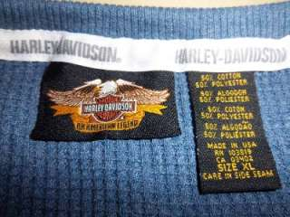 HARLEY DAVIDSON MOTORCYCLES 1903 LS Thermal Shirt ~ Mens XL ~ Blue