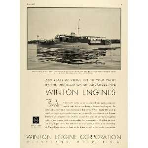 1935 Ad Winton Engine Corp. Logo Diesel Motor Boats
