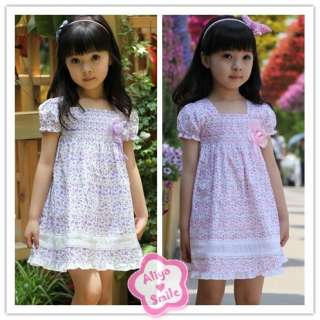 Purple Floral Girls Dress Spring/Summer Flower Dress SZ 2T 3T 4T 5T
