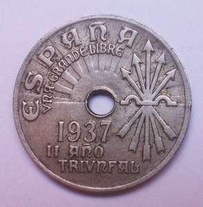 SPANISH CIVIL WAR COIN 25cts SPAIN REBEL FASCIST KM#753