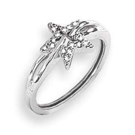 14k White Gold .10 Carat AA Quality Diamond Star Ring in Multiple