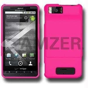 Amzer Rubberized Hot Pink Snap On Case For Verizon Motorola Droid X