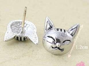Wholesale 2 Pairs Cute Silver Tone Lovely Fox Head Earring Ear Stud