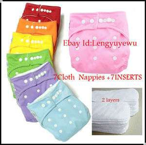WHOLESALE 7PC Reusable Baby Washable CLOTH Diaper Nappies+7INSERTS