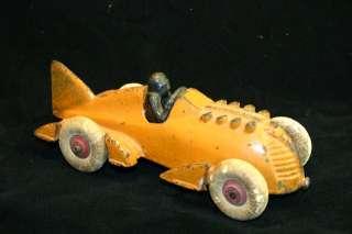 1930s Orange Hubley Cast Iron Fin Tail Racer Rocket Race Car
