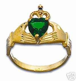 14k Solid Gold Claddaugh Ring Irish Celtic Claddagh sz7