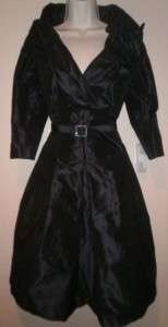 Teri Jon Rickie Freeman NEW Belted Navy Dress 10 NWT