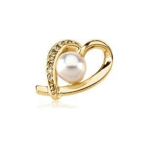Akoya Pearl & Diamond Heart Pendant Jewelry