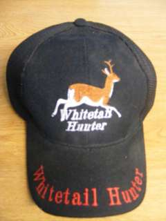 DEER HUNTER WHITETAIL HUNTING BUCK HAT CAP BLACK MESH