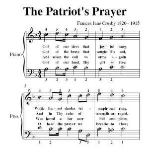 Patriots Prayer Fanny Crosby Easy Piano Sheet Music: Christian: Books