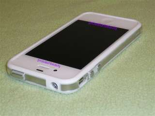 Apple iPhone 4 4S 4G White Clear Bumper Case Cover W/ Metal Buttons S