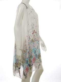 BAGGY OVERSIZE CHIFFON FLORAL DRESS LONG TOP WHITE Sz S