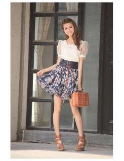 J9592 Princess Hot Dark Blue Floral Tying Chiffon Skirt