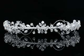 Flower Rhinestone Crystal Pearl Wedding Headband Tiara 9793