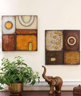 CONTEMPORARY HANDCRAFTED GEOMETRIC METAL WALL ART 2 BOLD EARTHY COLORS