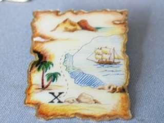 Bark Ship   Sailing Ship Pin Badge Pirate Treasure Map Pin Badge