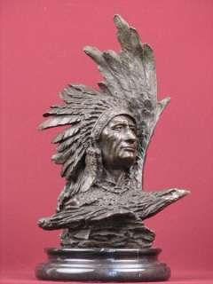 SIGNED BRONZE SCULPTURE NATIVE AMERICAN INDIAN HIGHLY DETAILED STATUE