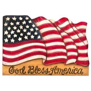 God Bless America Flag wall plaque, made in USA