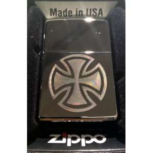 Zippo Custom Lighter   Iron Chopper Cross Logo Hi Polish