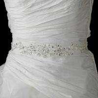 Ivory Crystal Rhinestone Sequence Wedding Sash Bridal Belt