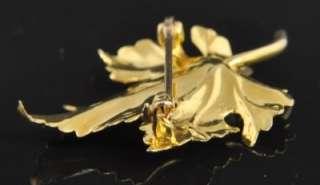 Eckfeldt & Ackley Estate Vtg 14K Yellow Gold Akoya Pearl Maple Leaf