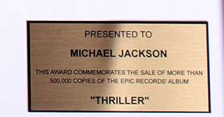 Michael Jackson Thriller Gold Record Award non Riaa cd lp