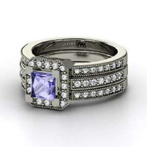 Va Voom Ring, Princess Tanzanite 14K White Gold Ring with
