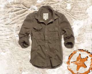 VINTAGE MILITARY ARMY MENS LONG SLEEVE COTTON SHIRT, OLIVE, ALL SIZES
