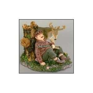 Best Quality  Deer Hunter Sleeping Against Log: Patio, Lawn & Garden
