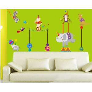 Animal Circus Nursery/Kids Room Peel & Stick Removable Home Wall Art