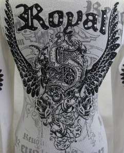 VOCAL Cream Sexy Gothic Tattoo Shirt Top Rose Wings NEW