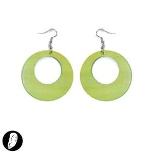 sg paris women earrings fish hook wood lime green wood: Jewelry