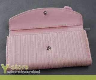 Lady Women Girl Long Wallet Card Holer Purse Coin Bag   Pink Heart Bow