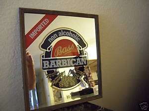 Bass Barican Non Alcoholic Imported Beer Sign & Mirror 15 in Height