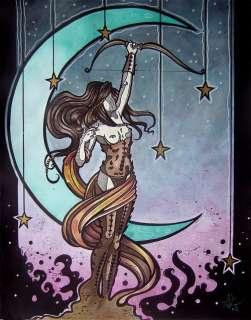 Gothic Artemis w/ moon stars bow comic fantasy art