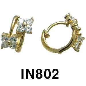 14k Cubic Zirconia Flower Huggie Earrings (white gold