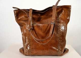 BOTTEGA VENETA Brown Python Tote Bag