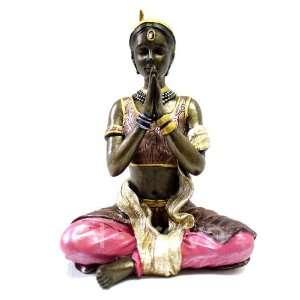 Cold Cast Bronze Lady in Yoga Lotus Pose Statue Figurine