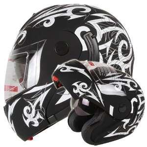 Tattoo Dual Visor Modular Flip up Motorcycle Helmet DOT (Medium