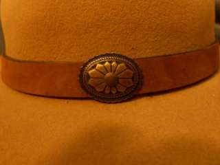 RESISTOL TAN AMERICAN EAGLE COWBOY HAT LEATHER BAND METAL CONCHOS SIZE