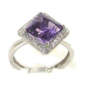 Luxury Elegant Womens 9K White Gold Princess Cut Amethyst