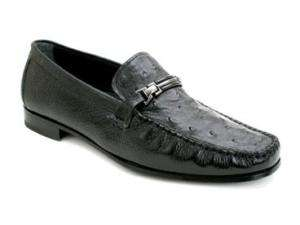 MEZLAN Mens Kindle Ostrich Vamp Deerskin Loafer Black