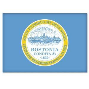Massachusetts City Flag car bumper window sticker 5 x 3 Automotive