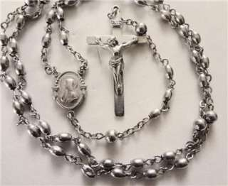Antique ALL Sterling Silver Rosary Beads Necklace Cross Crucifix