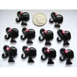 10 Resin Cabochon Flat Back Girl Black Cellphones 24mm