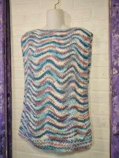 Soft Hand Knit Blue Mauve & Aqua Pullover Sweater Vest ~ Size L