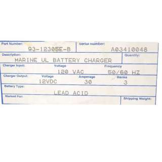 CHARLES MARINE 93 12305E B 30 AMP BOAT BATTERY CHARGER