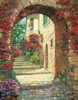 Via St. Tropez by Howard Behrens, Floral Archway Print